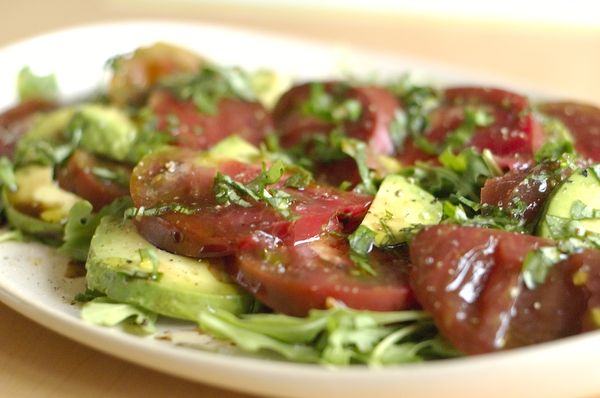 Simple Salad with Tomatoes, Avocado, Olive Tapenade and Fresh Basil ...